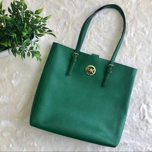 Michael Kors jet set north south green tote bag